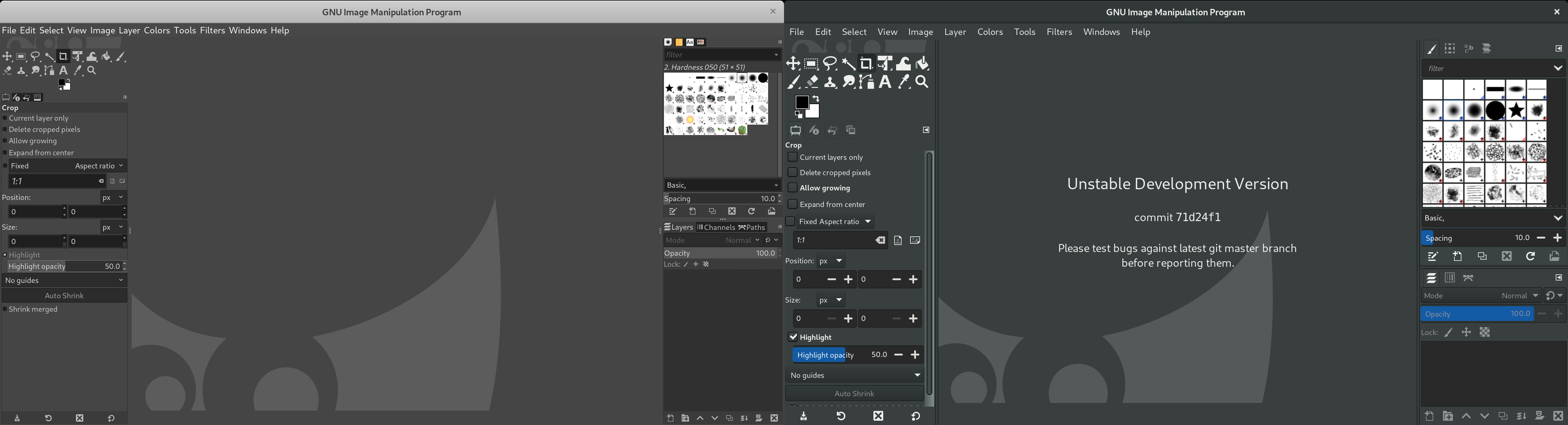 GIMP 2.10.22 and 2.99.2 interfaces side by side