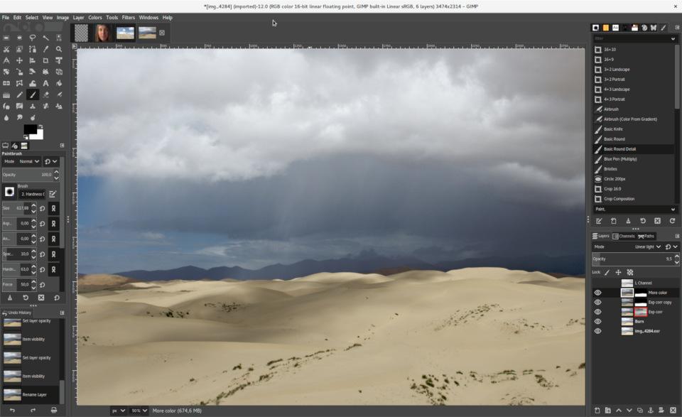 GIMP 2.10 with dark UI theme and symbolic icon theme