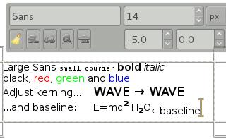 On-canvas text editing screenshot