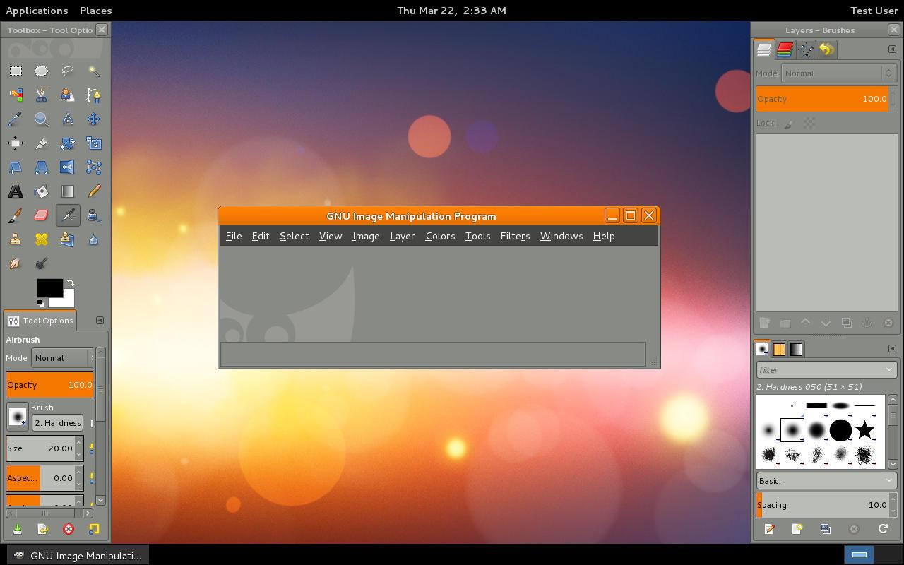 First GIMP 2.8 startup