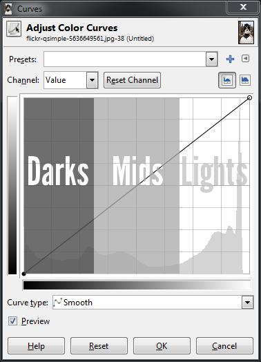 GIMP Base Curves darks mids lights zones