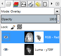 GIMP Layer Palette with inverted mask