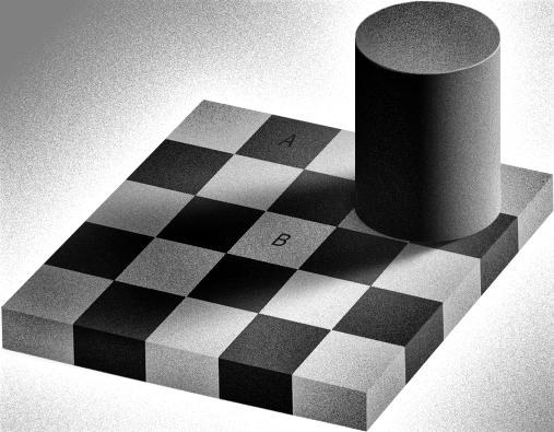 checkerboard luminosity optical illusion