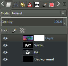 GIMP layer palette with mask