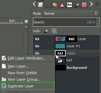 GIMP context duplicate layer