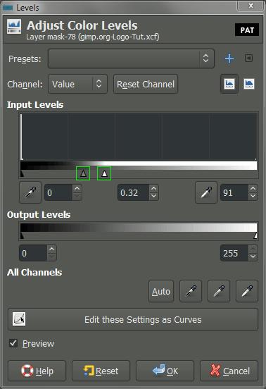 GIMP adjust color levels dialog